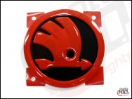 Emblemat / logo Skoda Octavia 3 Front / Rear 90mm  KOLOR Black + Red