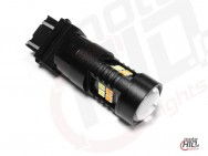 P27/7W 3157 16x 3030 Epistar LED + LENS 16W Dual Color White+Orange Copper BLACK