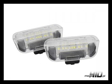 Lampki LED (2szt.) do drzwi VW AUDI SKODA SEAT PORSCHE, 18xSMD CLEAR