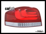 carDNA lampy tylne LED Audi A3 8P 03-09 LIGHTBAR silver/red/clear