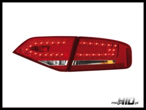 Lampy tylne LED Audi A4 B8 8K 07+ lim. Red / Crystal