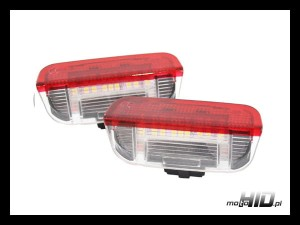 Lampki LED (2szt.) do drzwi VW AUDI SKODA SEAT PORSCHE, 18xSMD RED/CLEAR