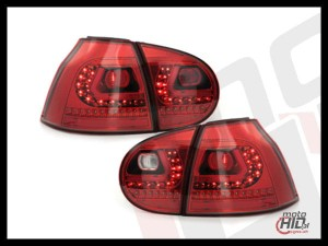 LITEC lampy tylne LED VW Golf V 03-09 red crystal