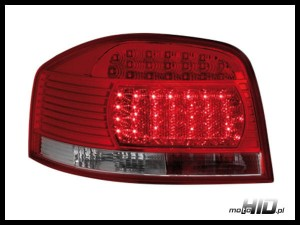Lampy tylne LED Audi A3 8P 03-09 Red / Crystal