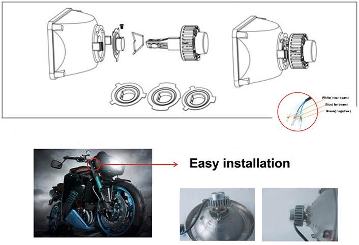 M3s Motocyklowe  U015awiat U0142o Mijania Led H4 H6 6000k 3200lm 32w  Connector  Motohid Pl