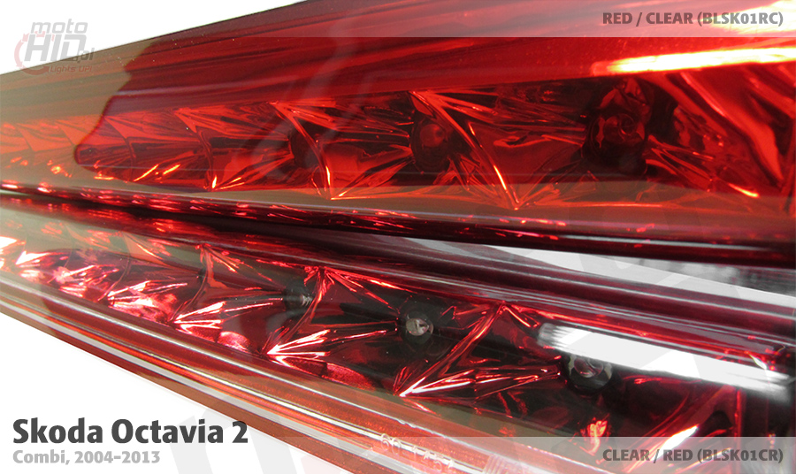 Lampa stopu Octavia 2 kombi CLEAR/RED vs RED/CLEAR